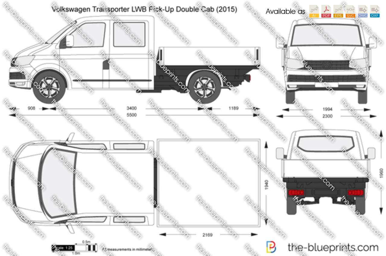 volkswagen transporter t6 lwb pick up double cab vector drawing. Black Bedroom Furniture Sets. Home Design Ideas