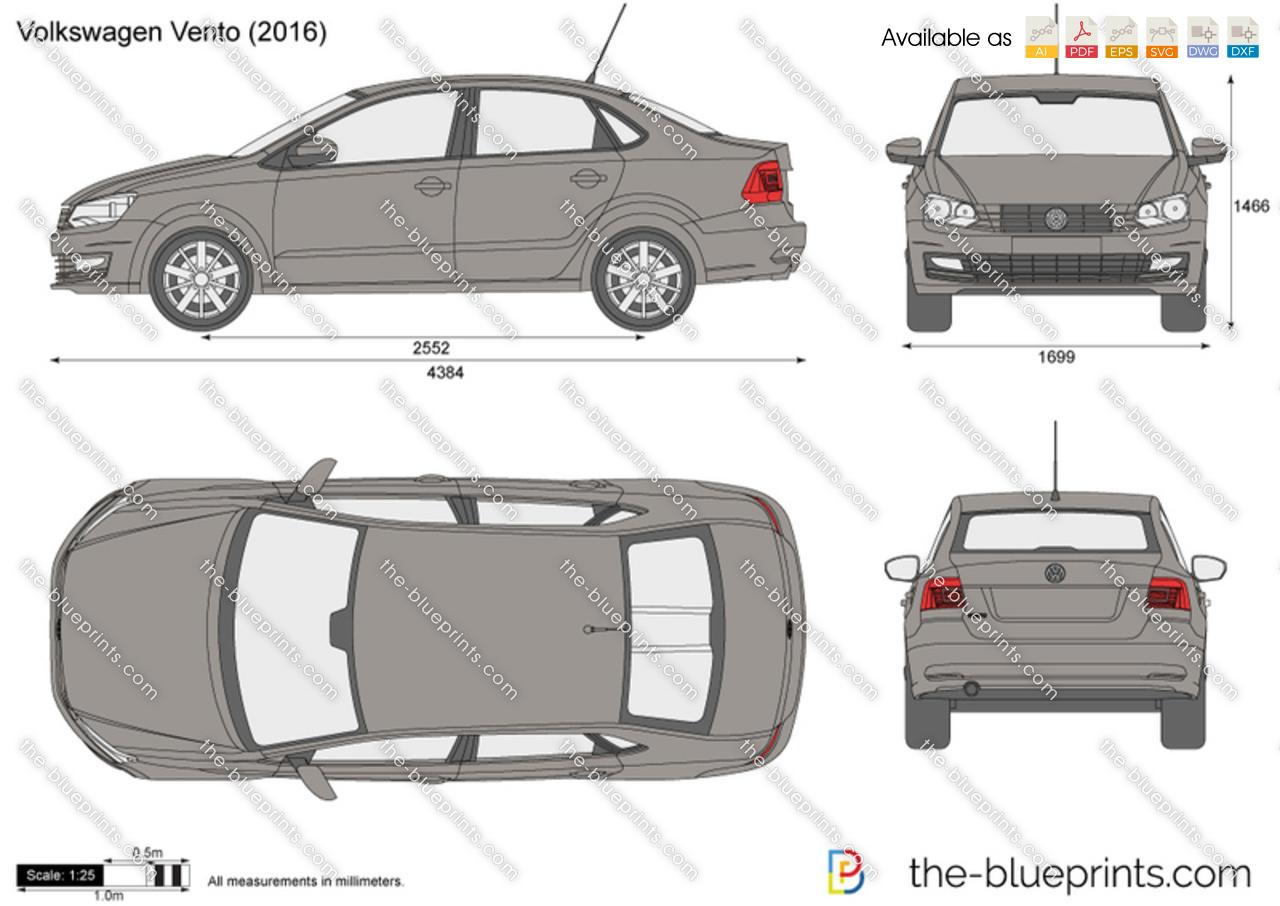 volkswagen vento vector drawing