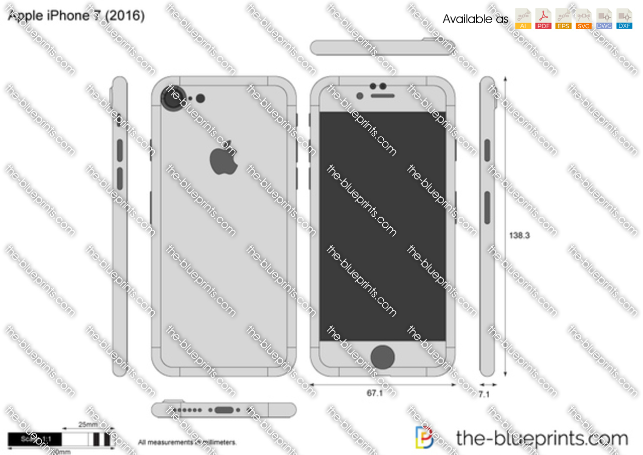 apple iphone 7 vector drawing