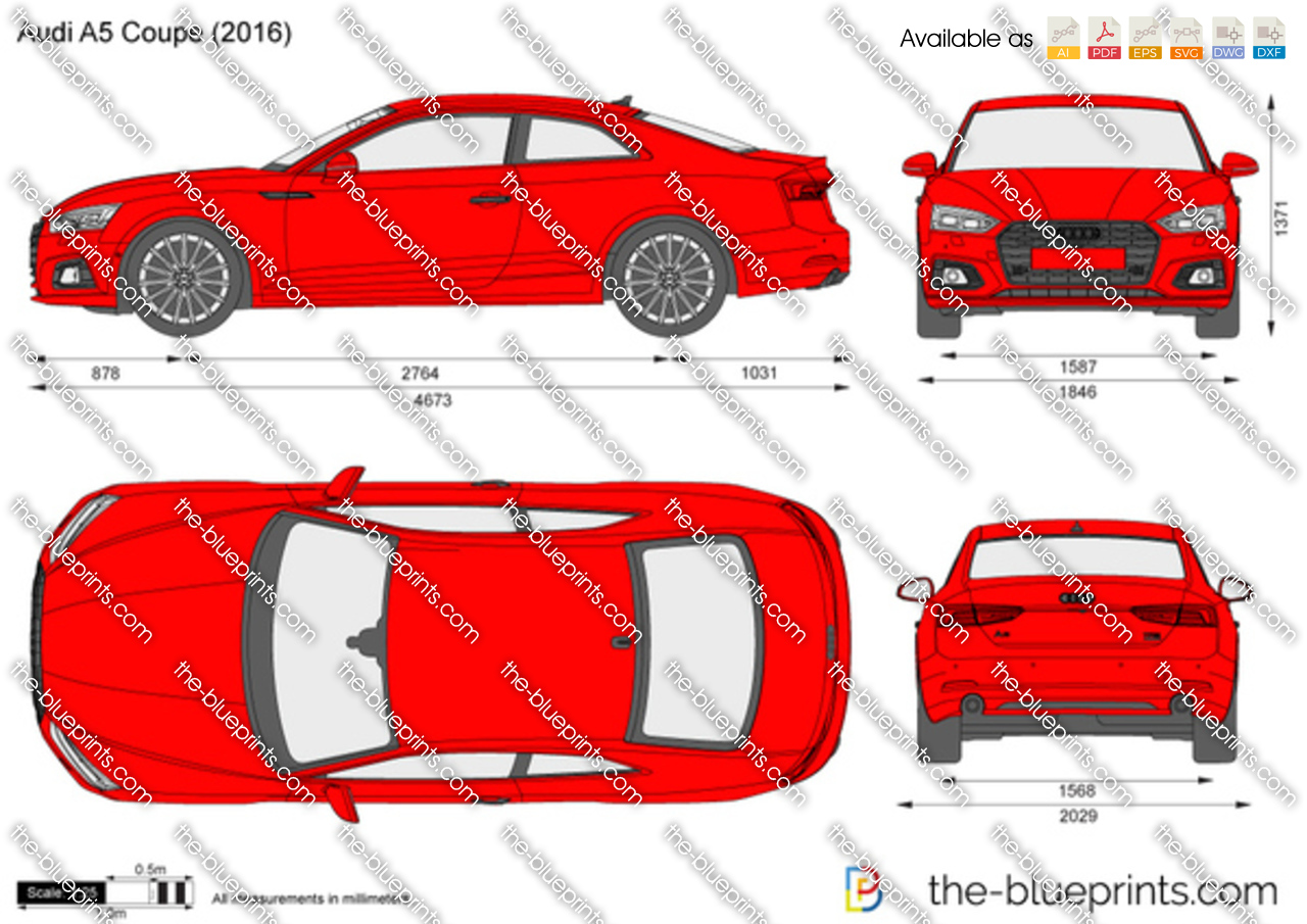 Audi A5 Coupe Vector Drawing
