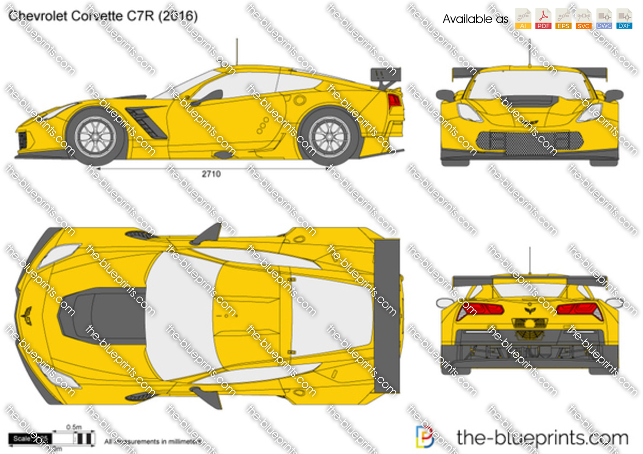 Chevrolet Corvette C7R Vector Drawing