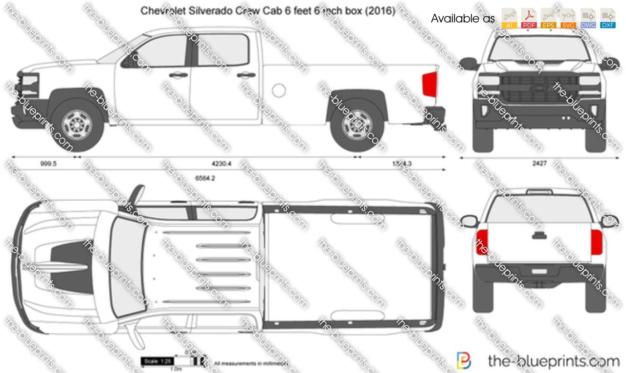 Chevrolet Silverado Crew Cab 6 feet 6 inch box vector drawing