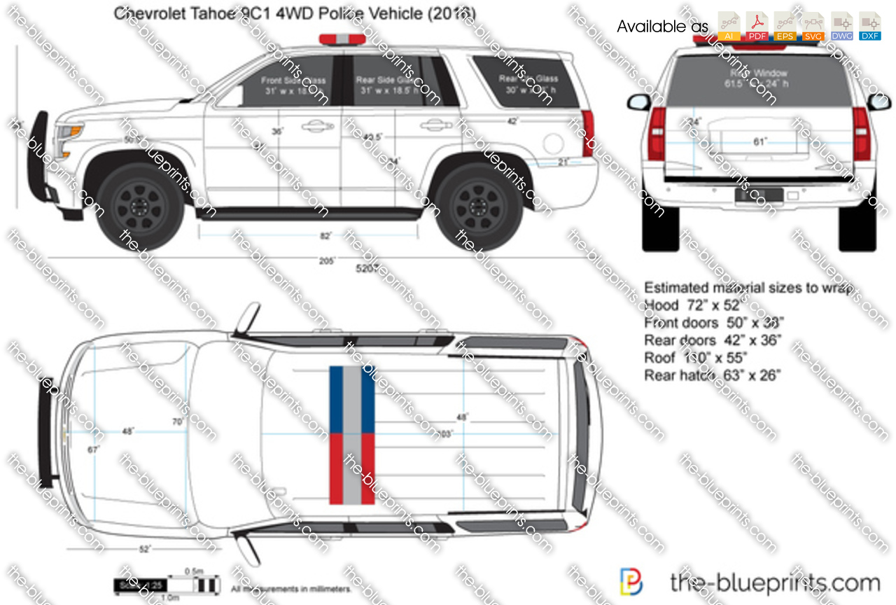 chevrolet tahoe 9c1 4wd police vehicle vector drawing