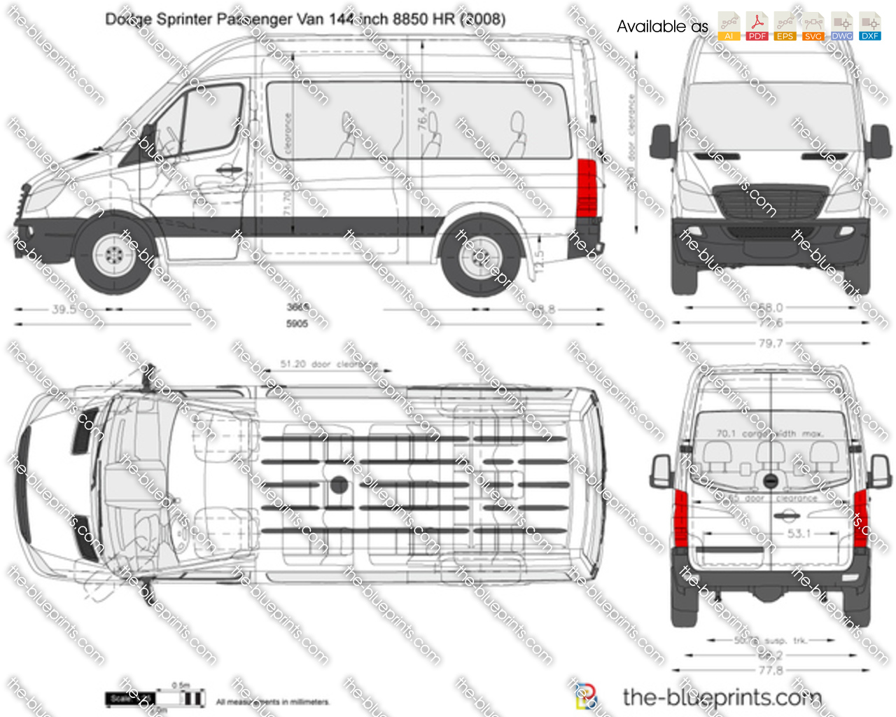 dodge sprinter passenger van 144 inch 8850 hr vector drawing