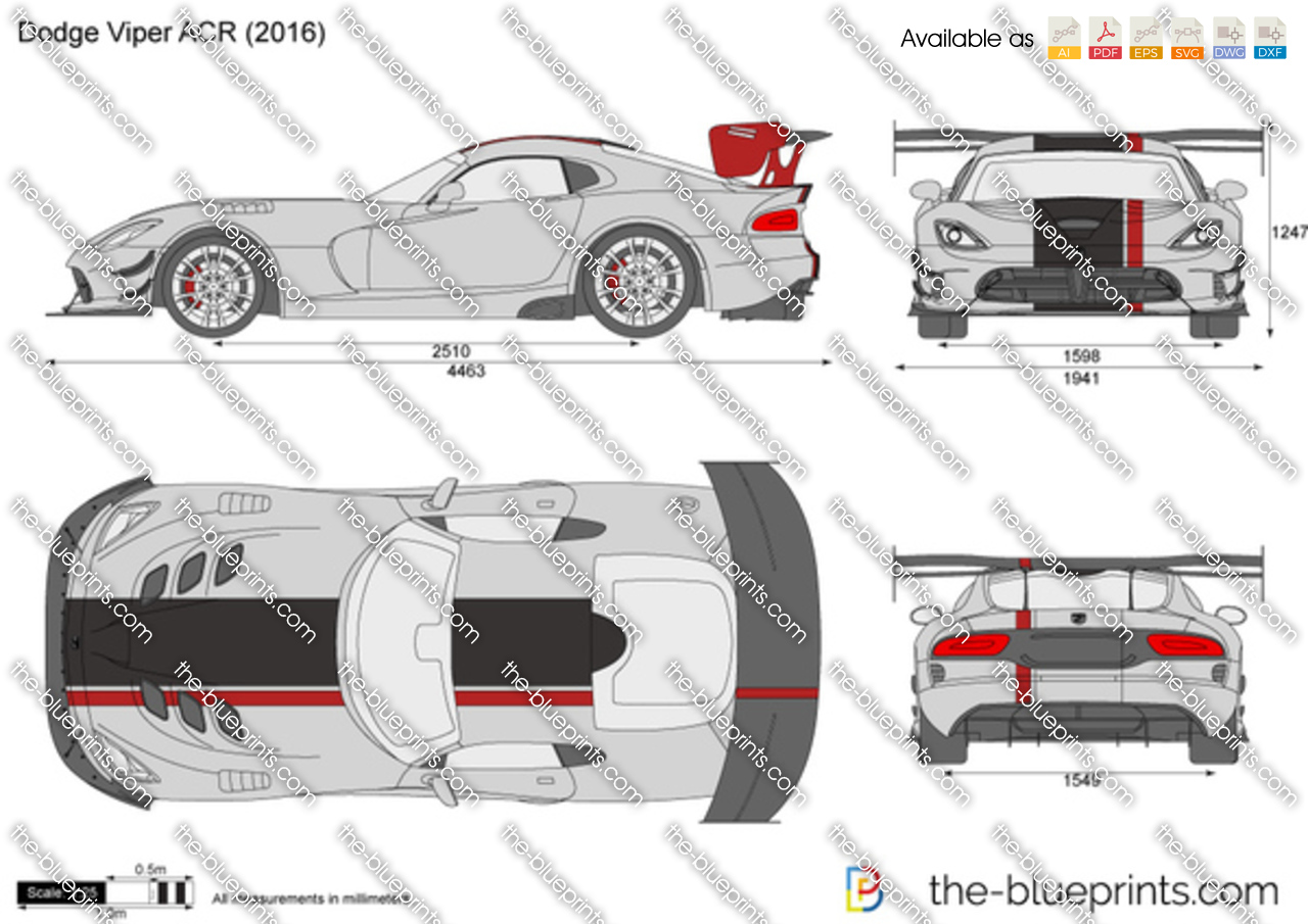 Dodge Viper ACR vector drawing