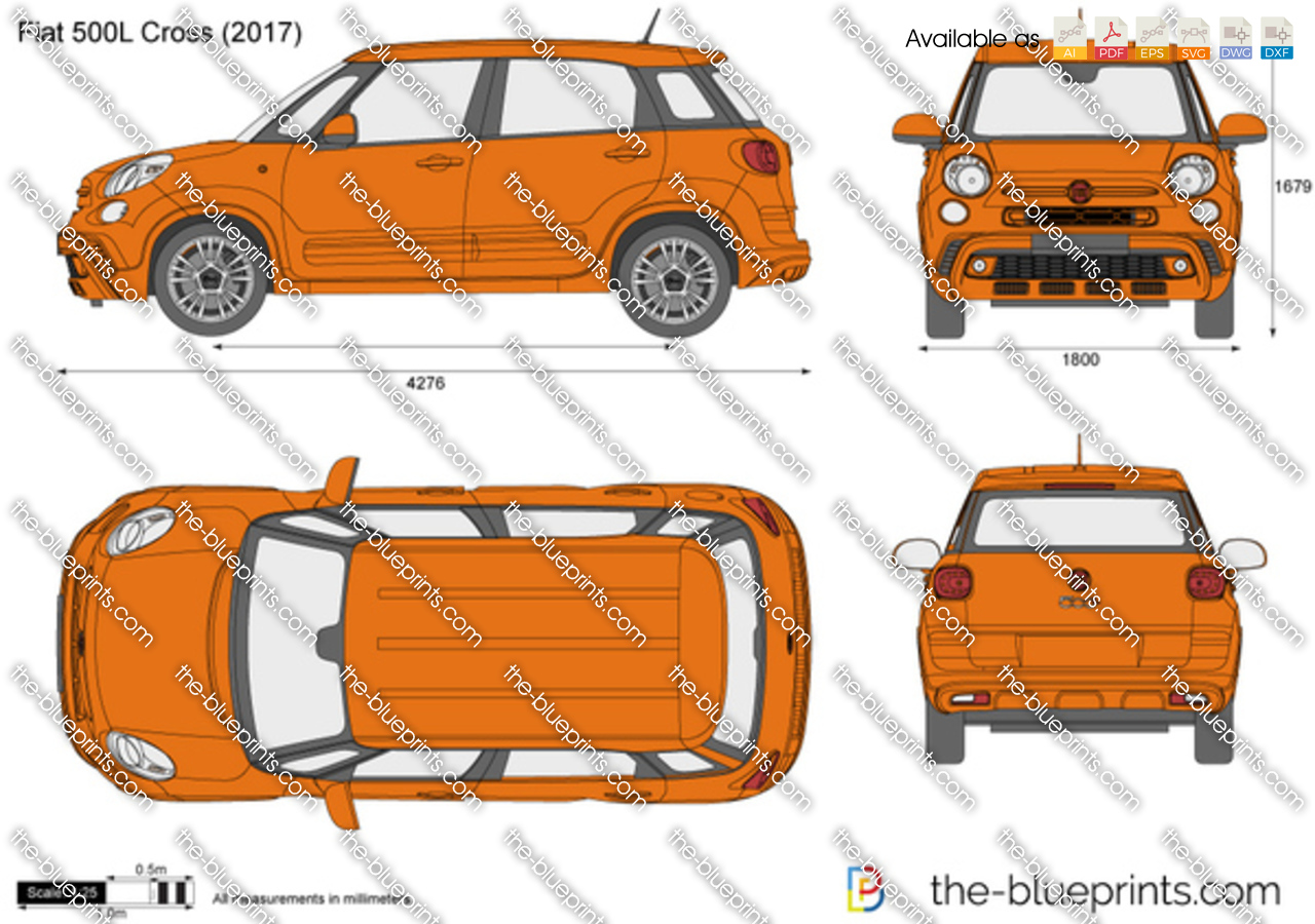 fiat 500l cross vector drawing. Black Bedroom Furniture Sets. Home Design Ideas