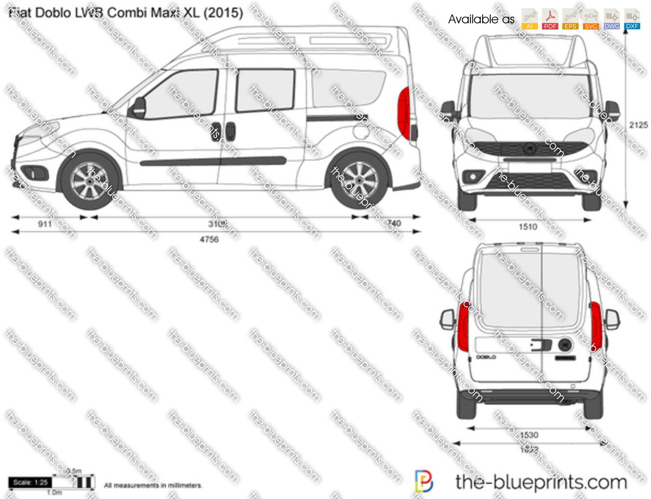 the-blueprints - vector drawing - fiat doblo lwb combi maxi xl