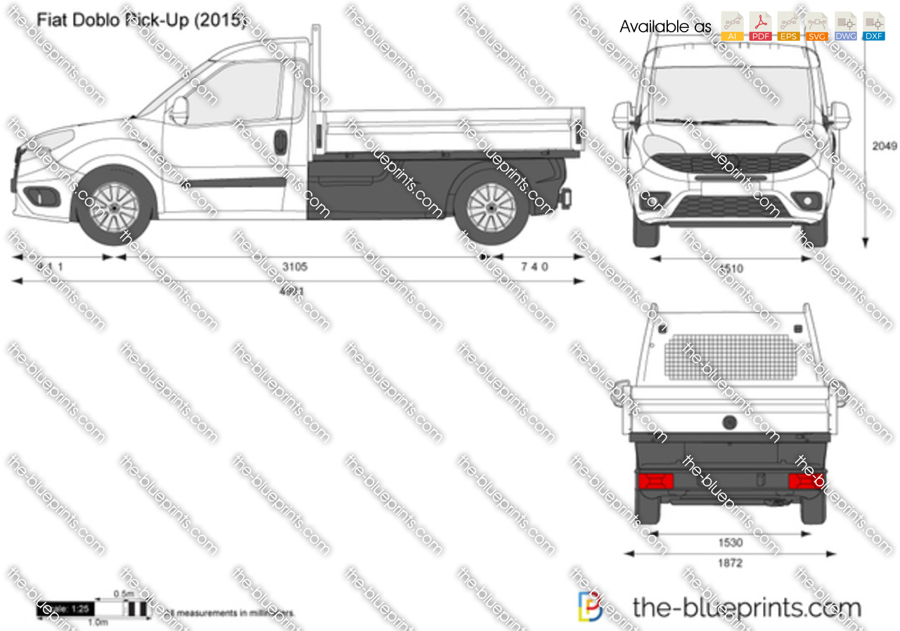 fiat doblo pick up vector drawing. Black Bedroom Furniture Sets. Home Design Ideas