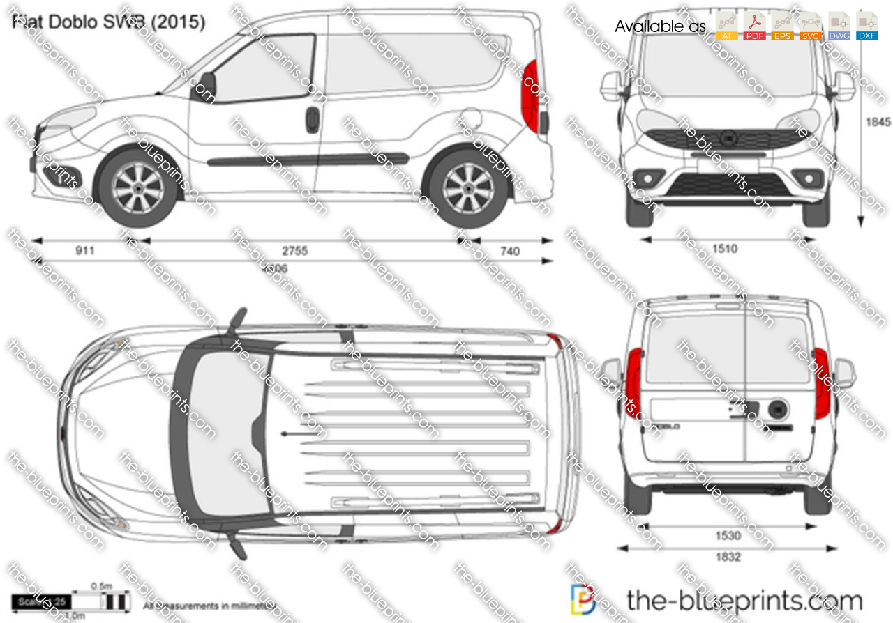 Fiat Doblo Swb Vector Drawing