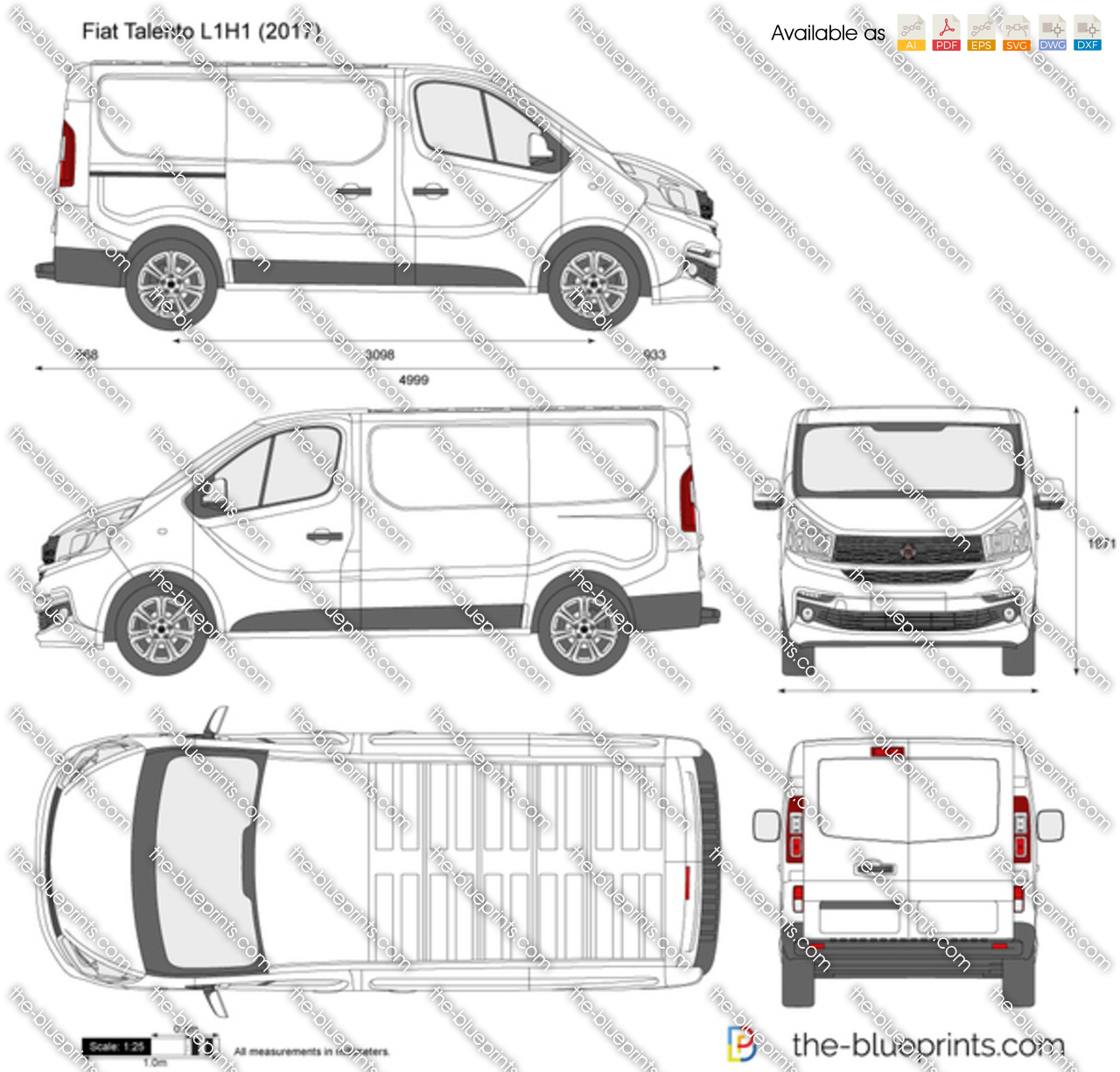 fiat talento l1h1 vector drawing