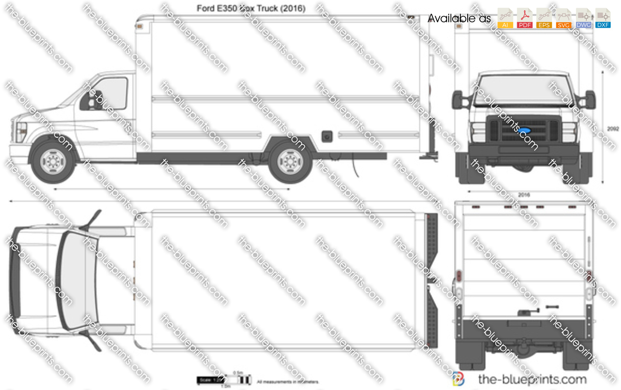 Ford E350 Box Truck Vector Drawing