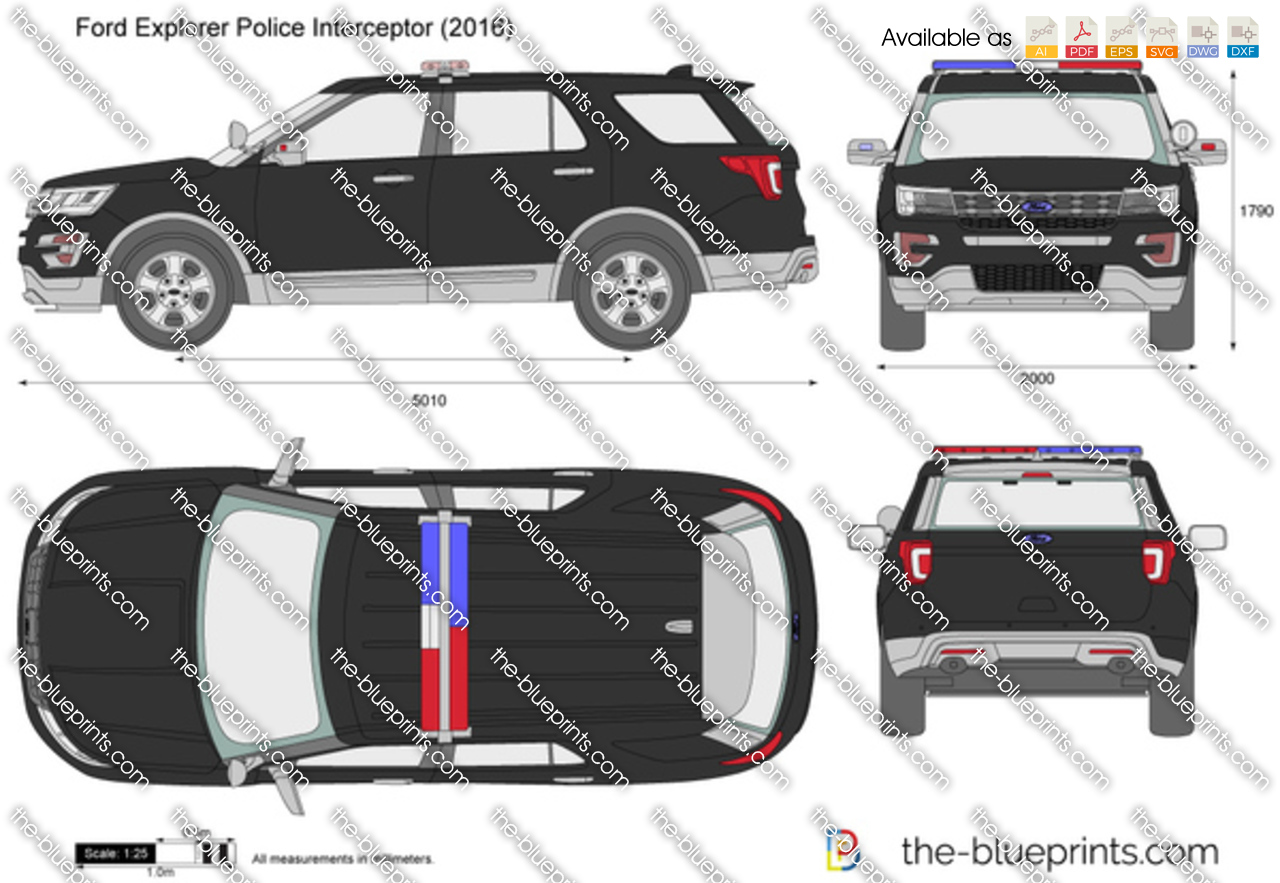Ford Explorer Police Interceptor Vector Drawing