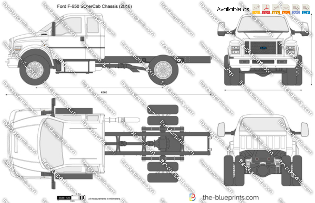 ford f650 supercab chassis vector drawing