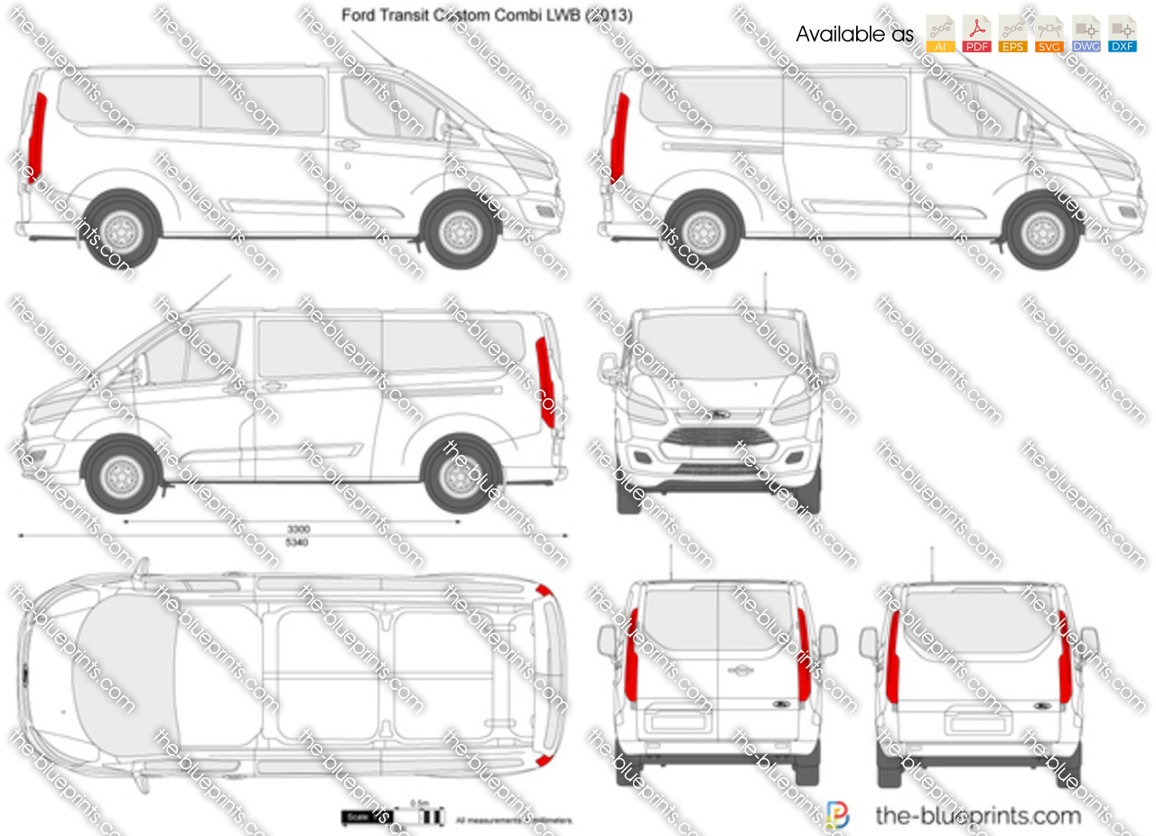Ford transit custom combi lwb vector drawing for Custom blueprints