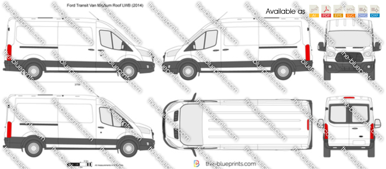 Ford Transit Van Medium Roof Lwb Vector Drawing