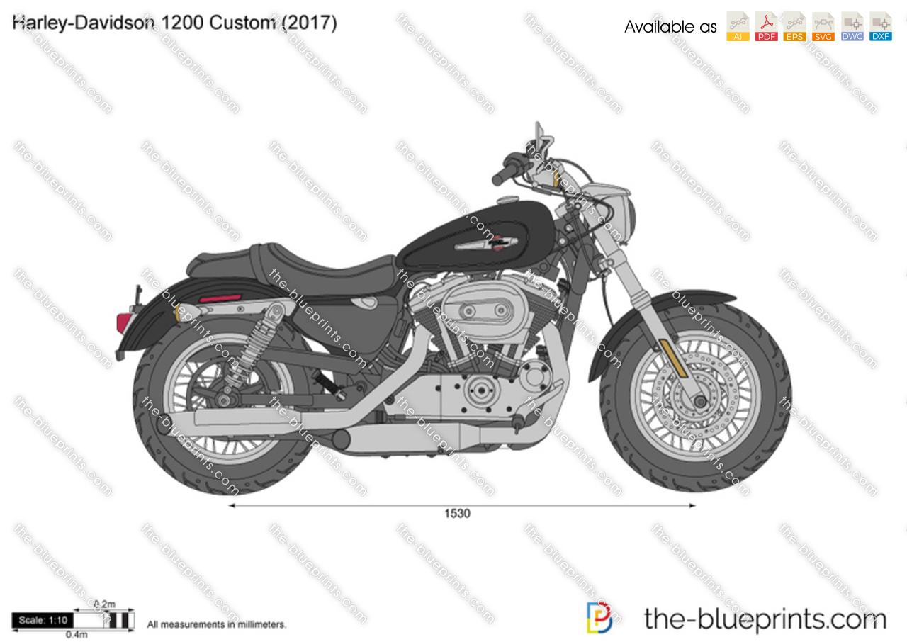 harley davidson 1200 custom vector drawing. Black Bedroom Furniture Sets. Home Design Ideas
