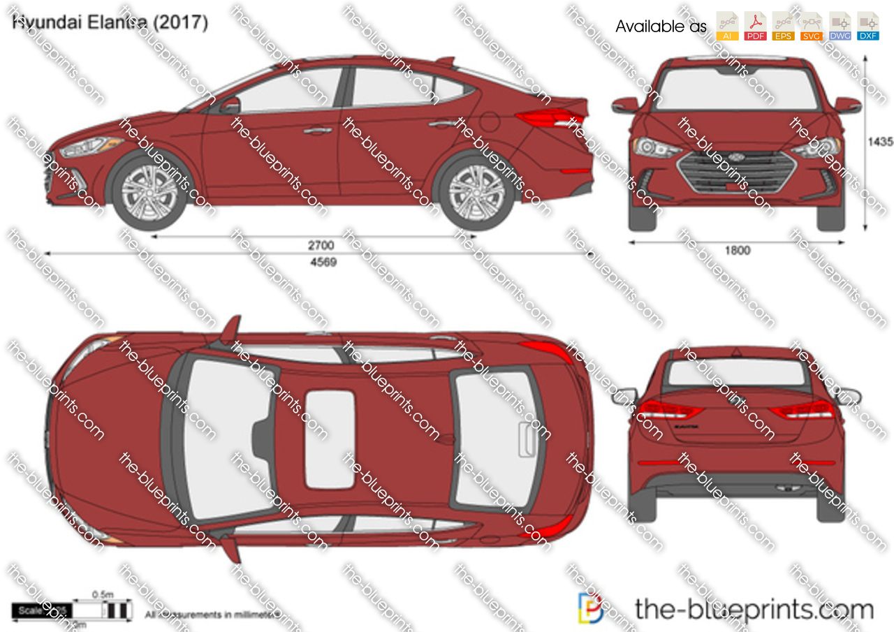 Hyundai Elantra Vector Drawing