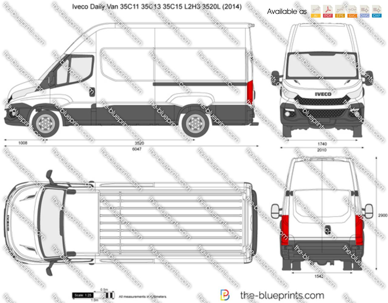 iveco daily van 35c11 35c13 35c15 l2h3 3520l vector drawing. Black Bedroom Furniture Sets. Home Design Ideas
