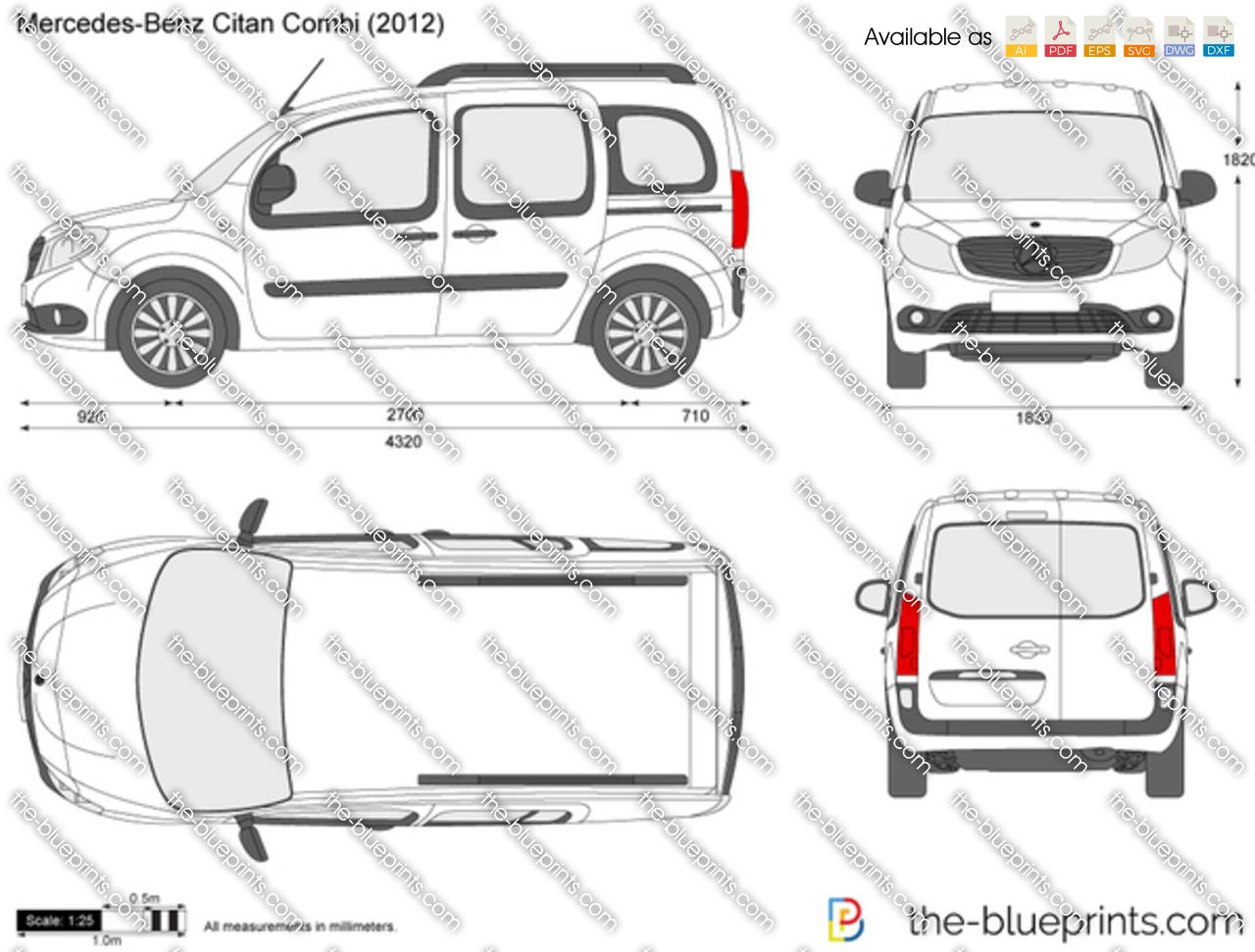 Mercedes Benz Citan Combi Vector Drawing