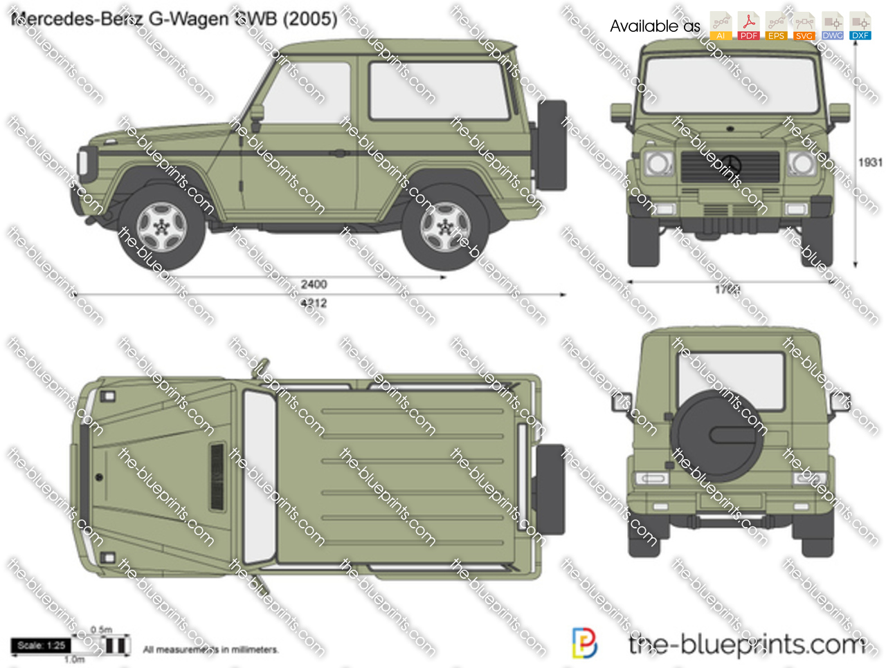 Mercedes benz g wagen swb w463 vector drawing for Mercedes benz w463 for sale