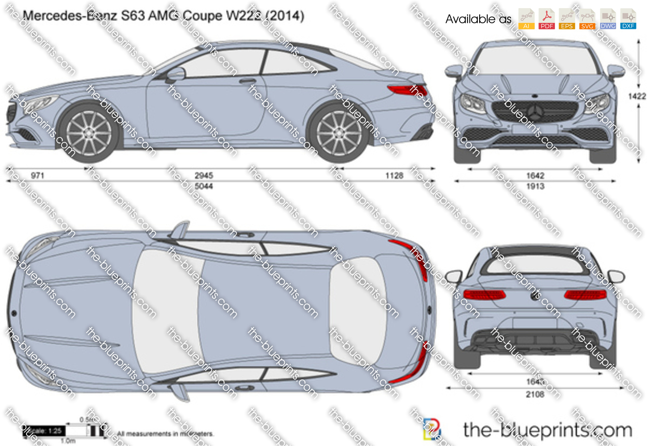 Mercedes-Benz S63 AMG Coupe W222 vector drawing