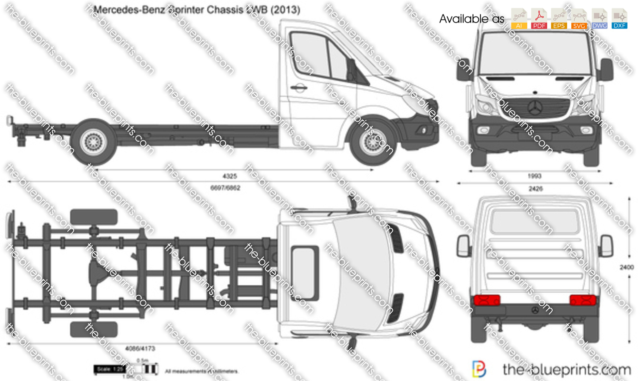 Mercedes benz sprinter chassis lwb vector drawing for Mercedes benz sprinter cab chassis