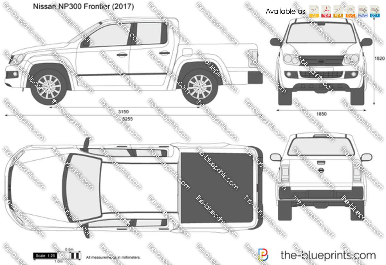 Nissan Np300 Frontier Vector Drawing