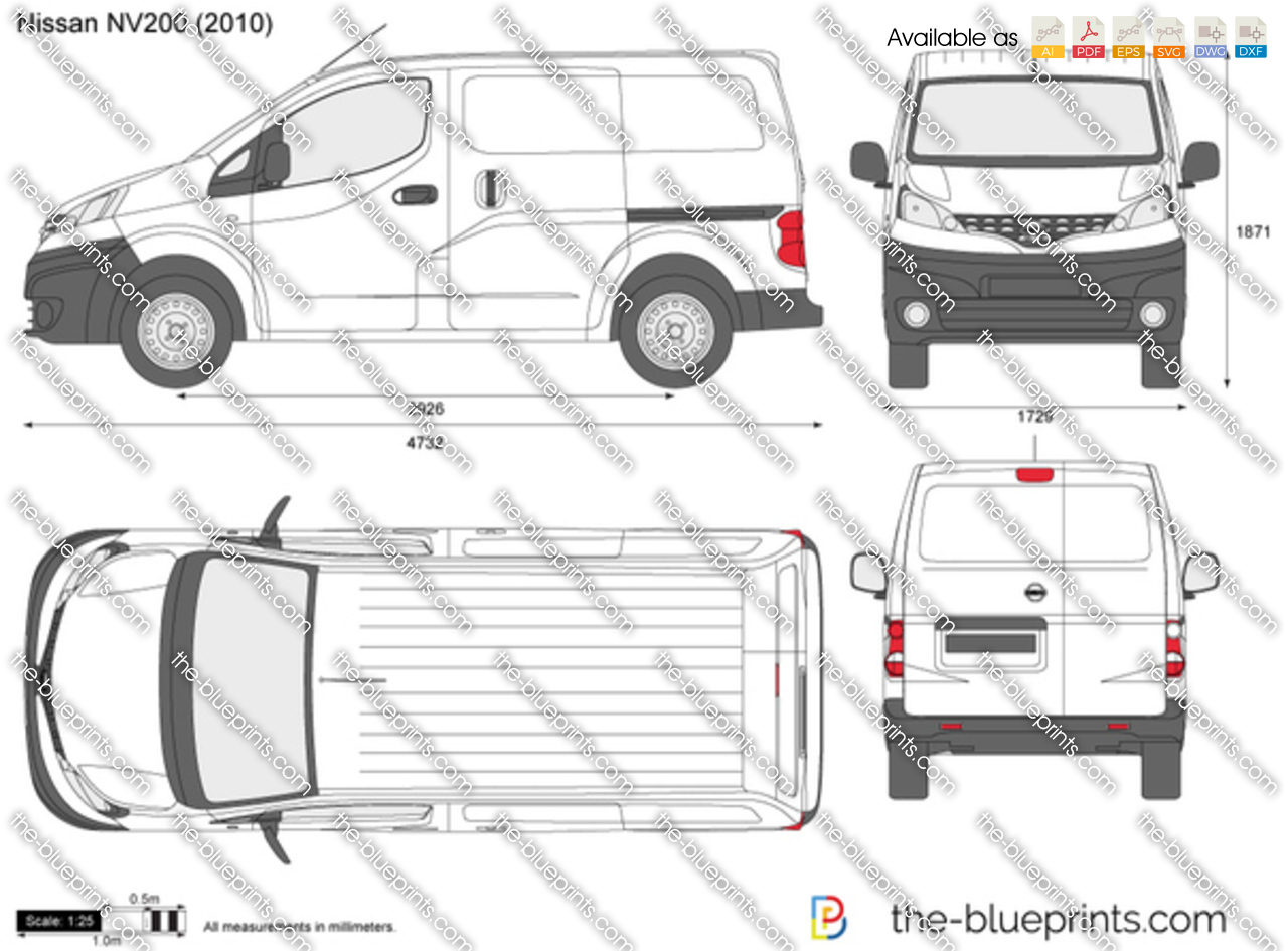 nissan nv200 vector drawing. Black Bedroom Furniture Sets. Home Design Ideas