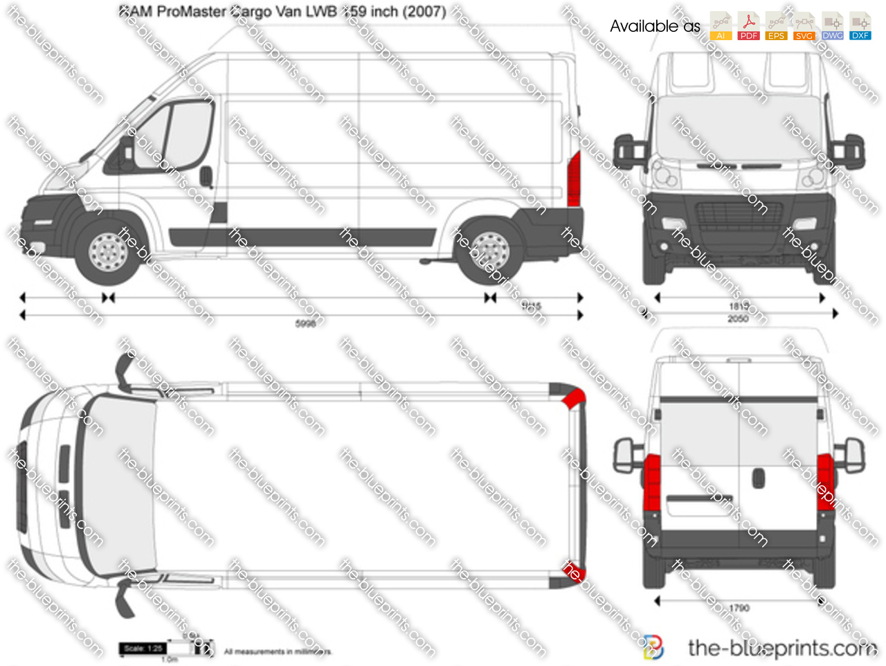 Ram Promaster Cargo Van Lwb 159 Inch Vector Drawing 2014 Dodge 2017