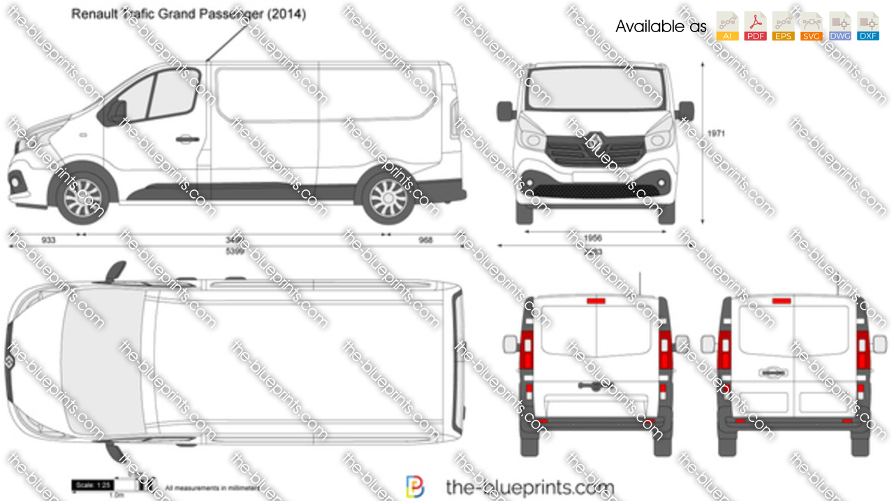 renault trafic grand passenger vector drawing. Black Bedroom Furniture Sets. Home Design Ideas