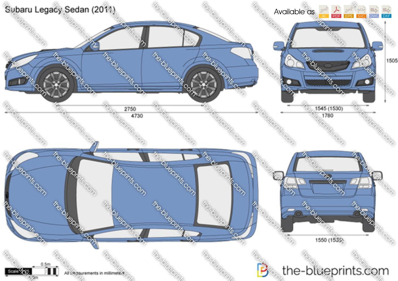 Subaru Legacy Sedan Vector Drawing