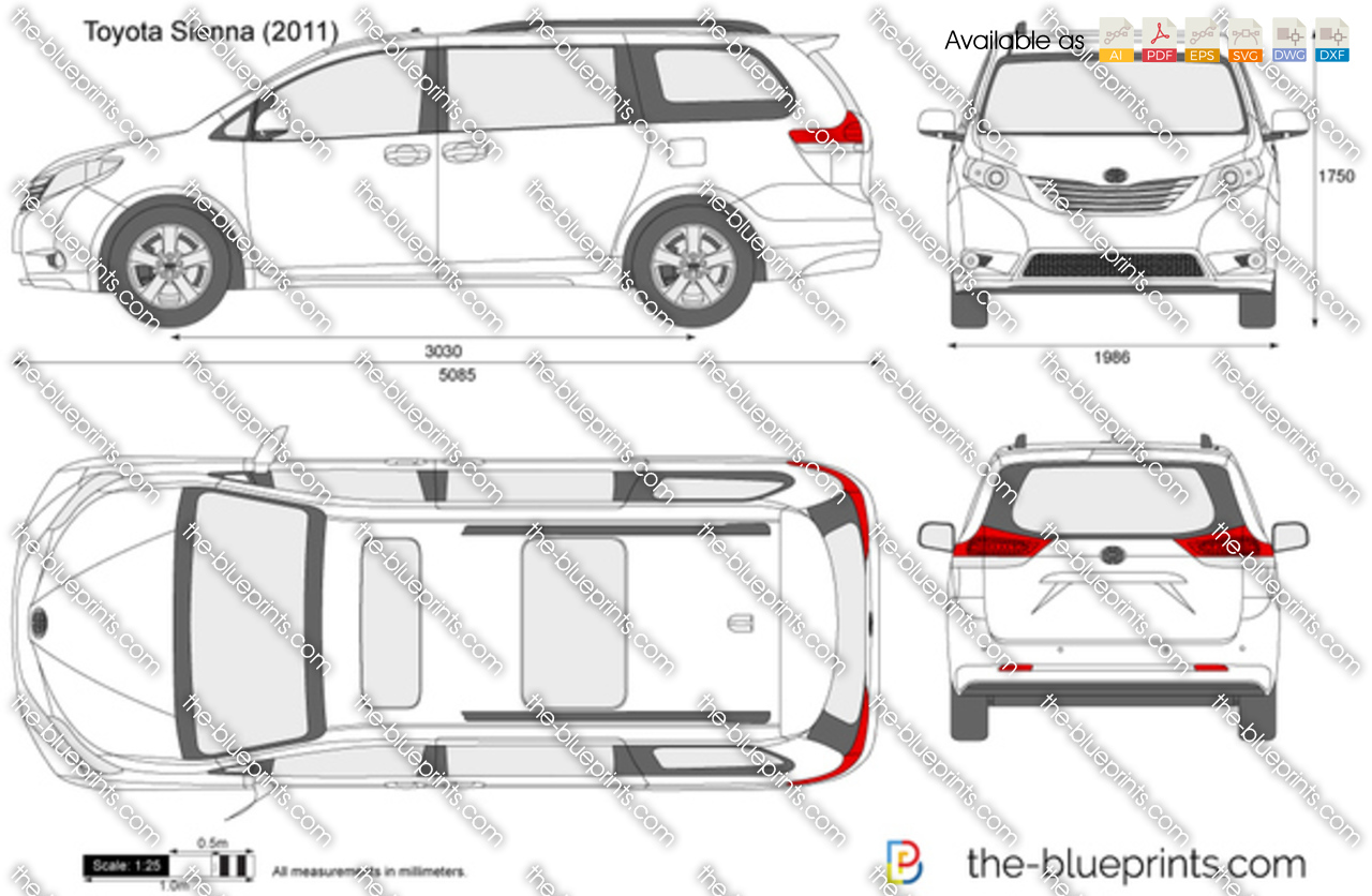 Toyota Sienna Dimensions >> Toyota Sienna Vector Drawing