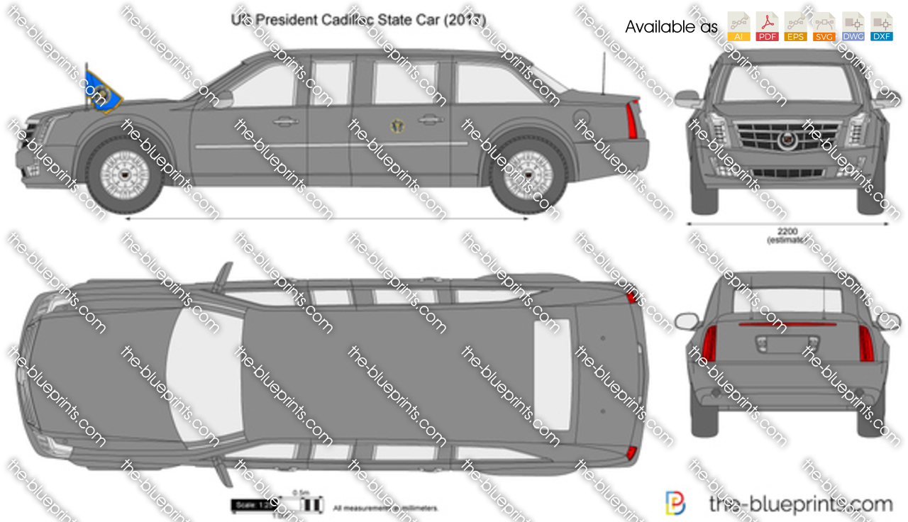 Us President Cadillac State Car Vector Drawing