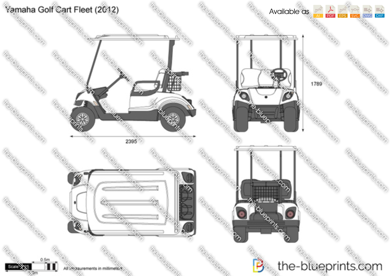 Yamaha golf cart fleet vector drawing for Golf cart plans
