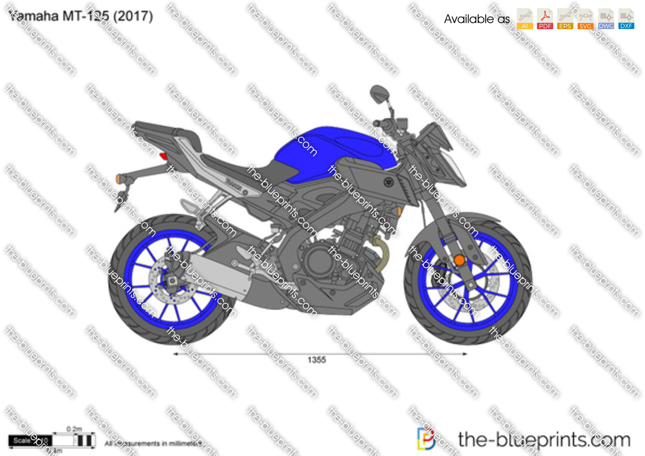 yamaha mt 125 vector drawing. Black Bedroom Furniture Sets. Home Design Ideas