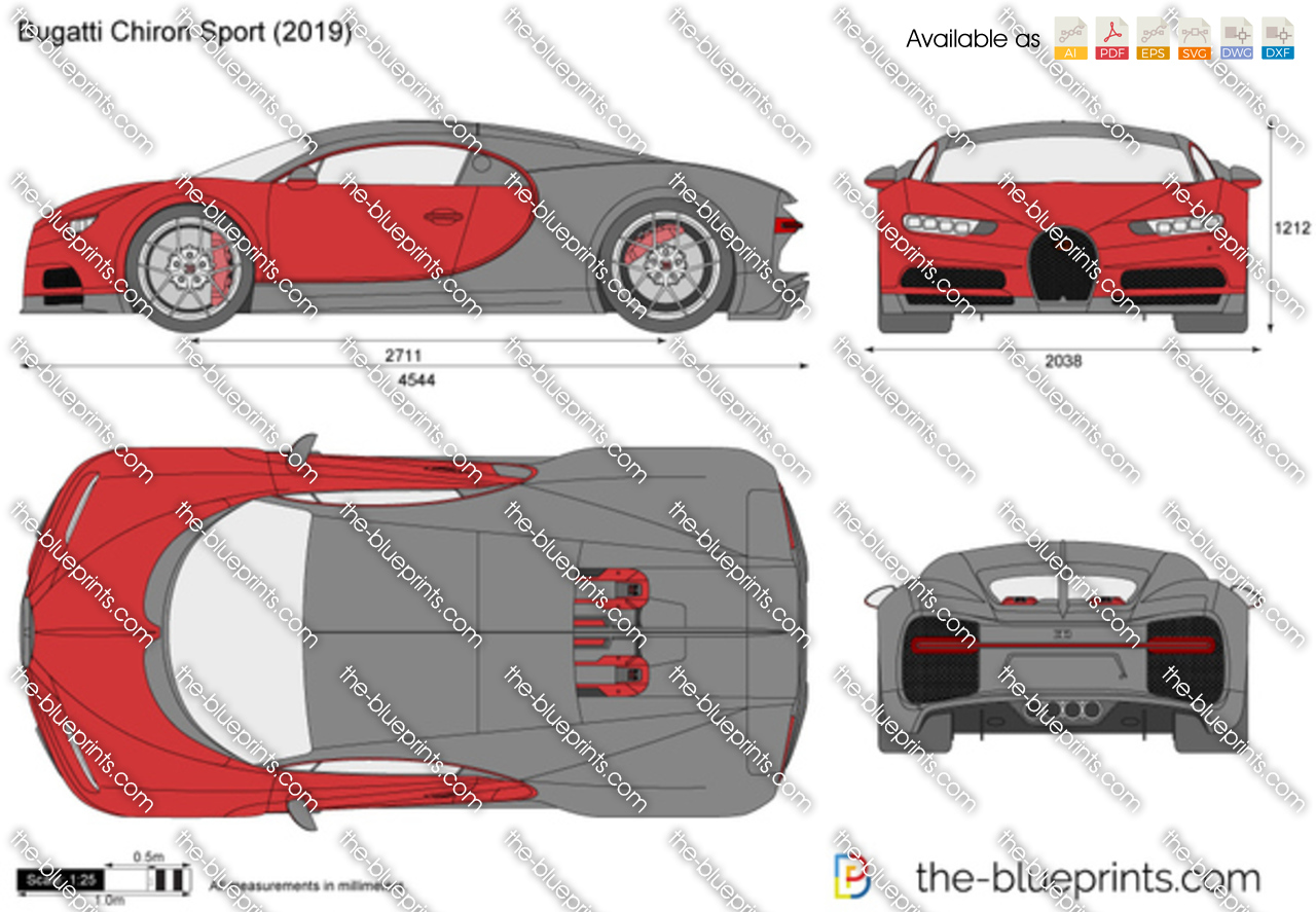 Bugatti Chiron Sport Vector Drawing