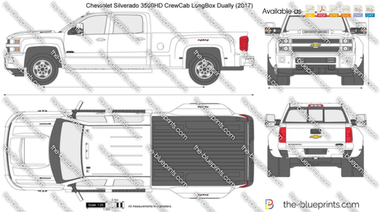 Chevrolet Silverado 3500HD CrewCab LongBox Dually vector ...