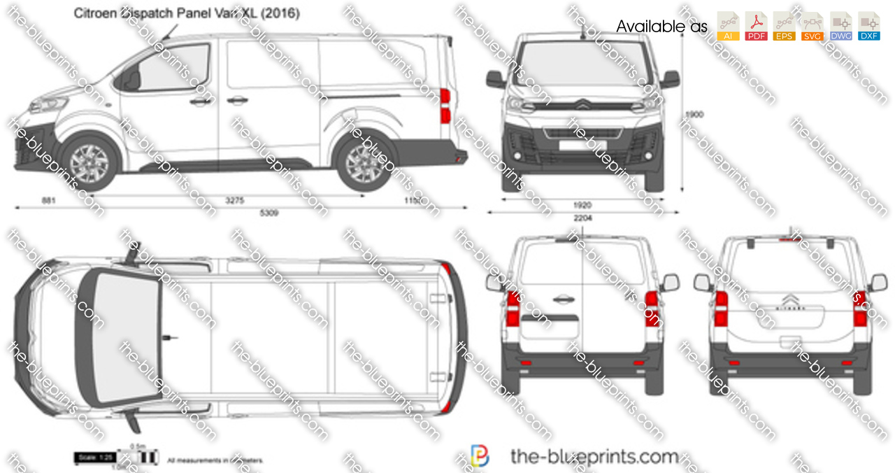 citroen dispatch panel van xl vector drawing