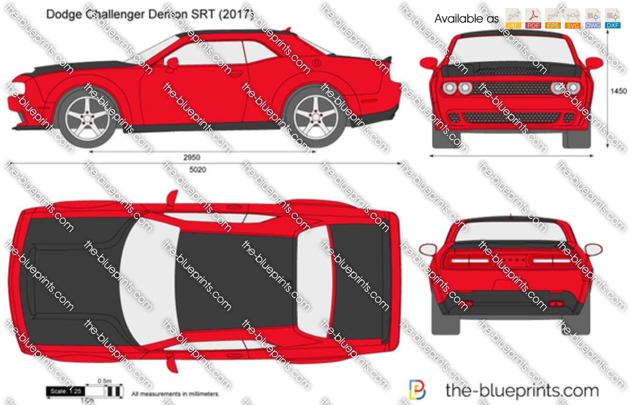 Dodge Challenger Demon SRT vector drawing