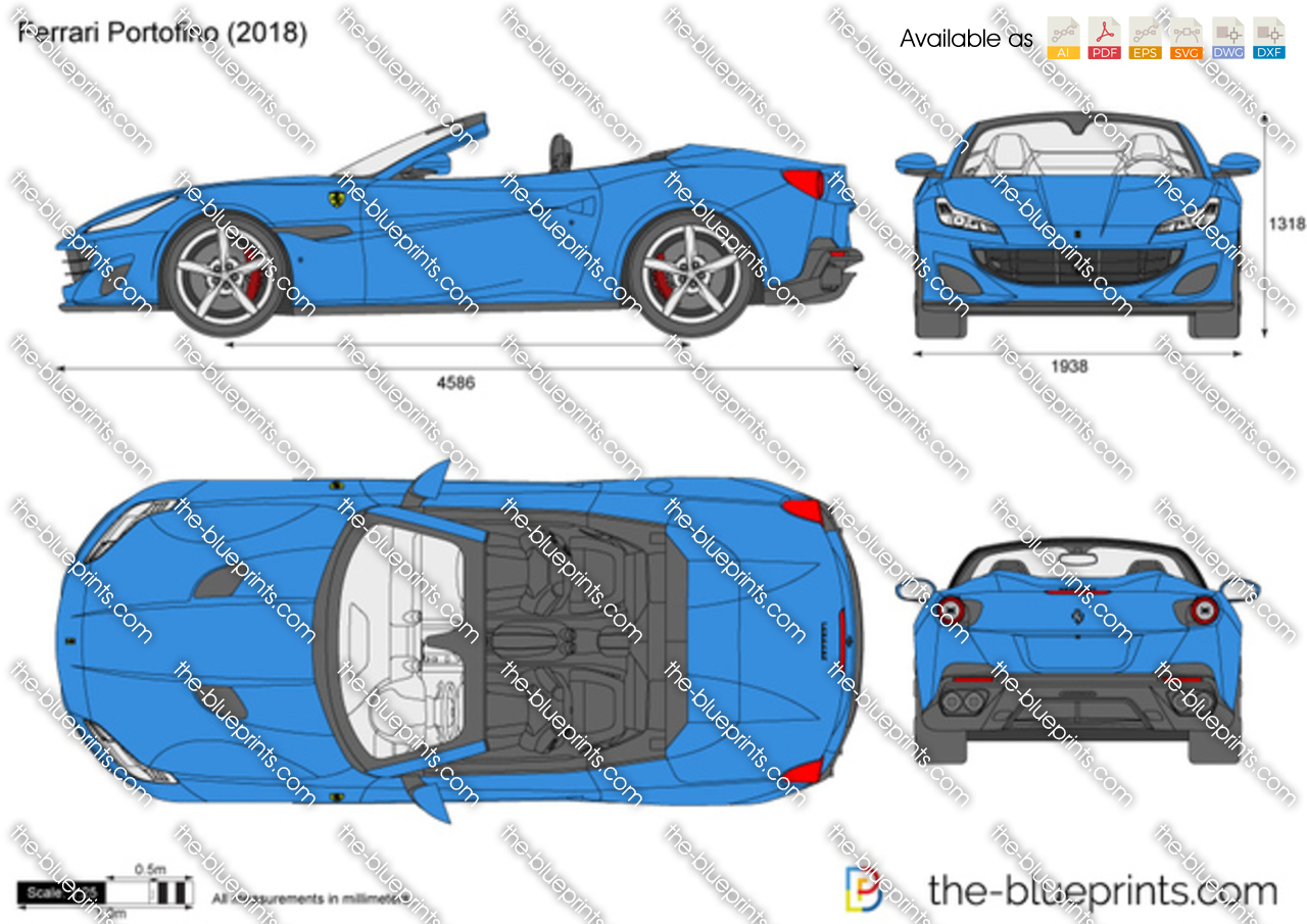 Ferrari Portofino Vector Drawing