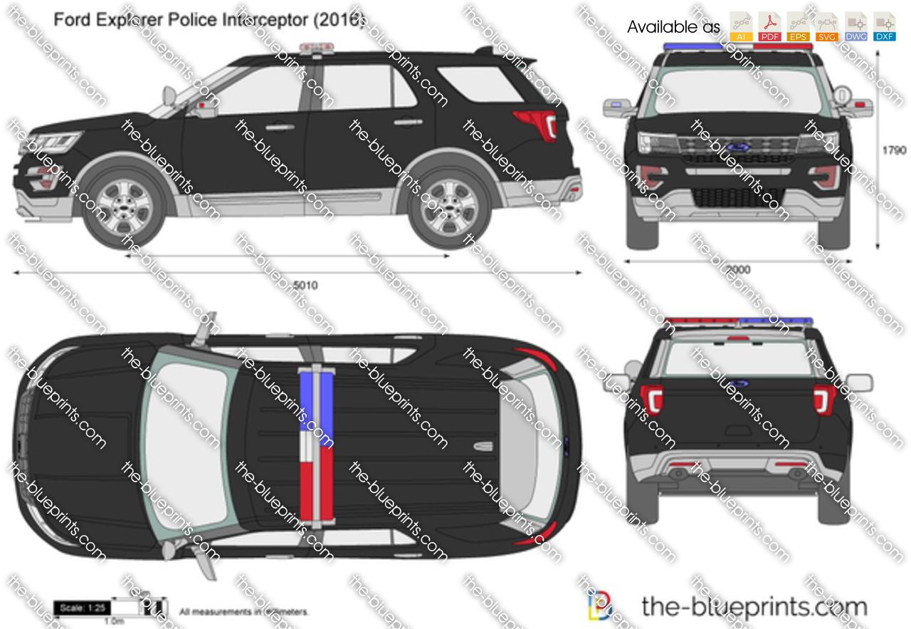 Ford Explorer Police Interceptor Vector Drawing
