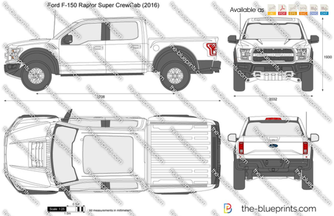 Ford F 150 Raptor Super Crewcab Vector Drawing