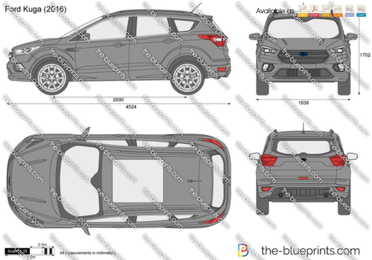 Kuga Dimensions >> Ford Kuga Vector Drawing