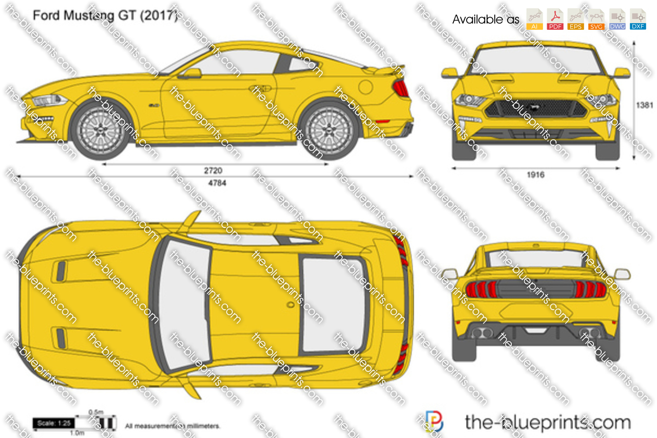 Ford Mustang Gt Vector Drawing
