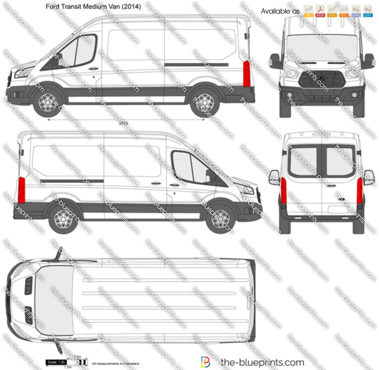Ford Transit Minibus Medium Roof LWB Vector Drawing