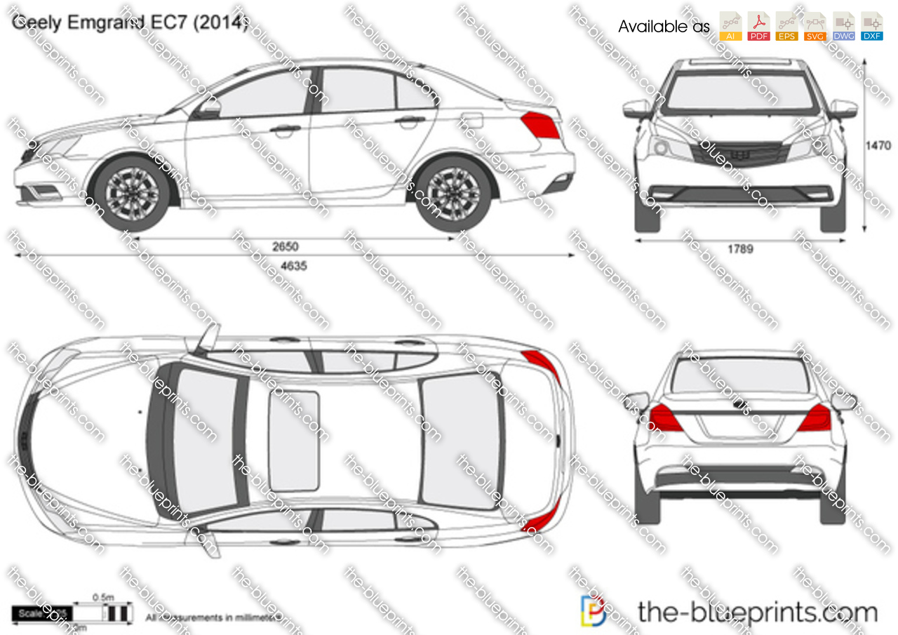geely emgrand ec7 vector drawing