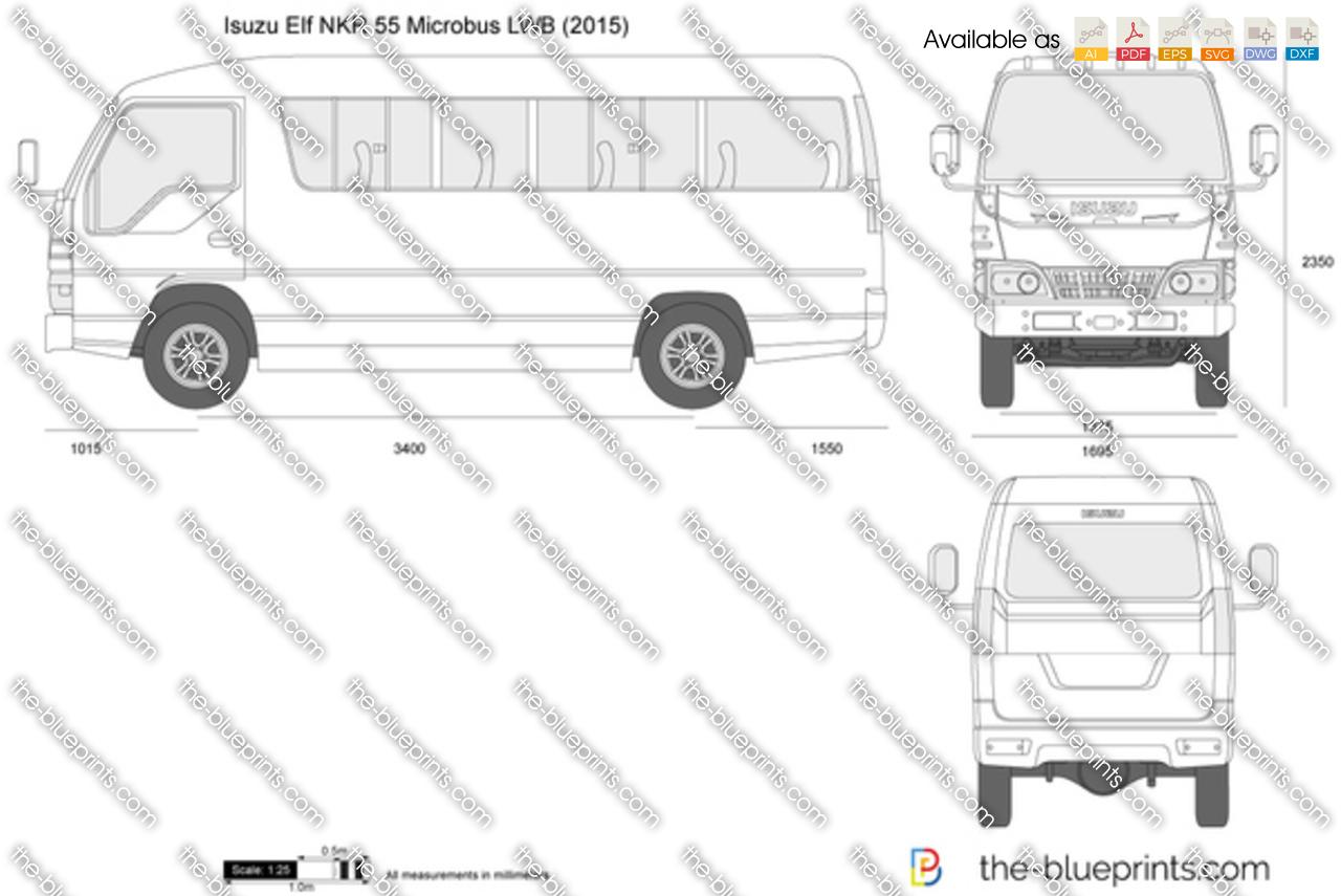Isuzu Elf NKR 55 Microbus LWB vector drawing
