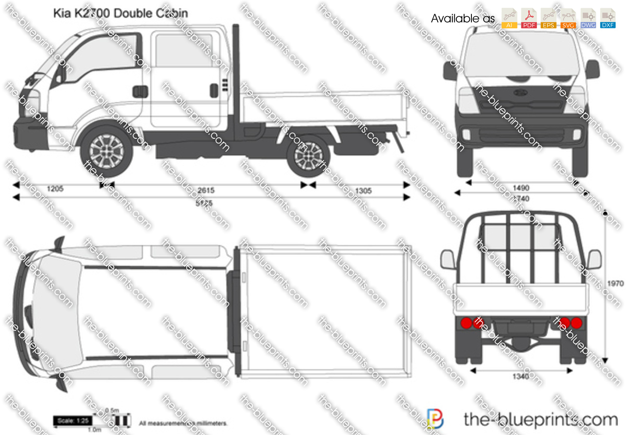 Kia K2700 Double Cab Price >> Kia K2700 Double Cabin vector drawing