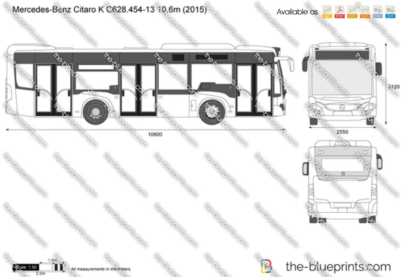 Mercedes Benz Citaro K C628 454 13 10 6m Vector Drawing