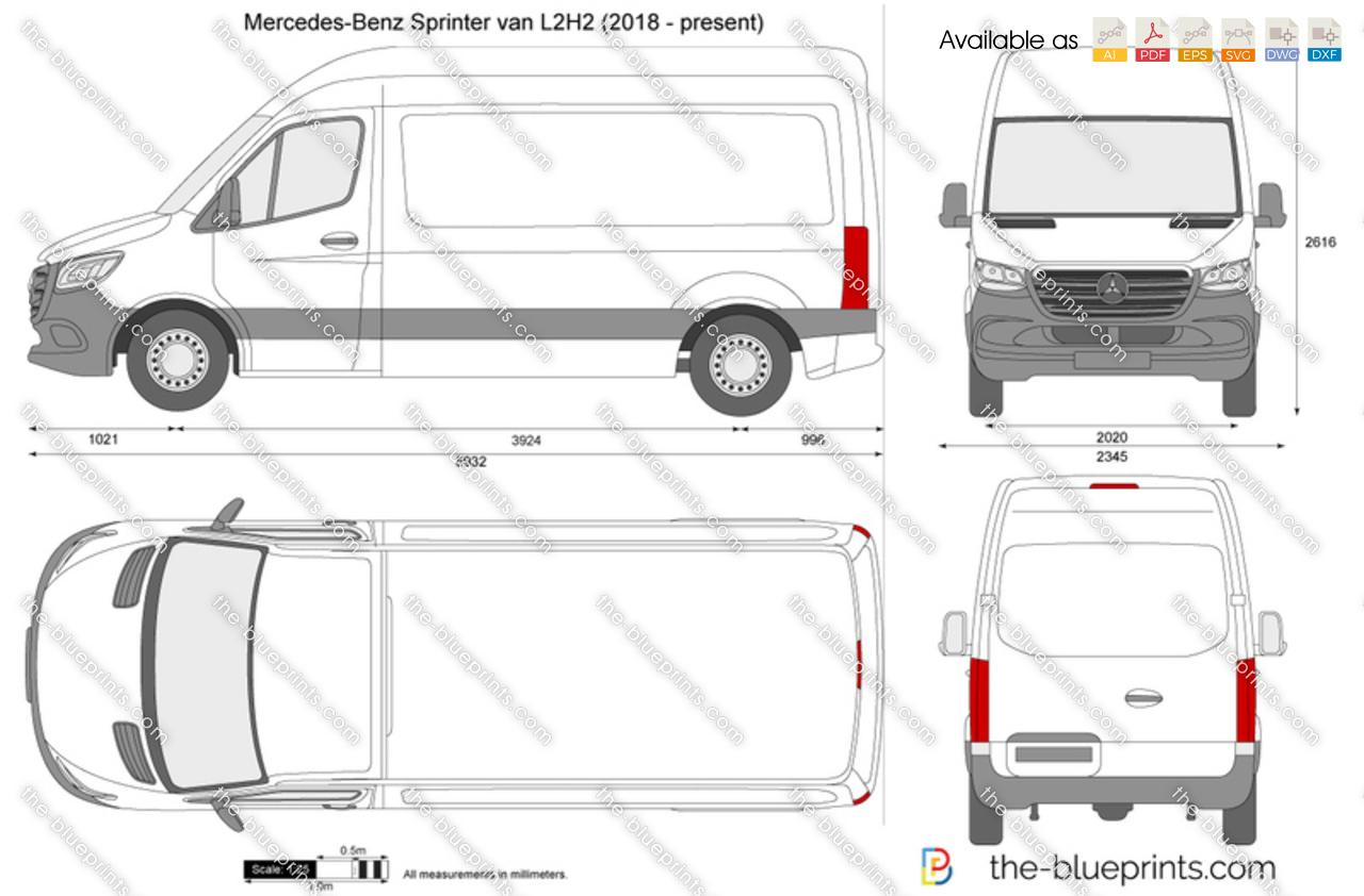 Onwijs Mercedes-Benz Sprinter van L2H2 vector drawing YV-76